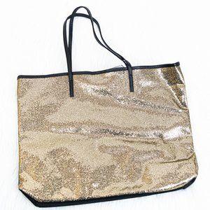 Macy's Metallic Golden Tote Bag